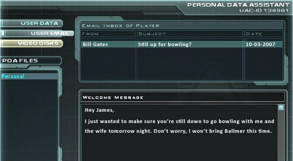 Checking my email in Doom 3